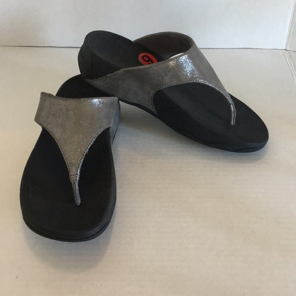 bba2e4c755c30 New Fitflop LuLu Shimmer suede sandals black sz 6